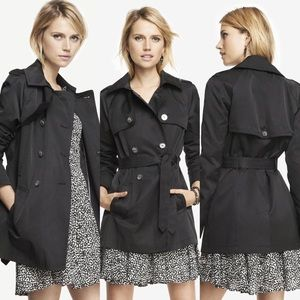 ❥ Express Black Button Up Trench Coat